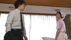 Japanese Mature Maid Gets Fucked by 2 room mates