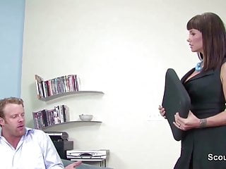 Carrie-ann moss porn Sexy mother get fucked by friend of her son when home alone