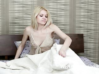 And naked russian Amuza awakens in bed to strip and play naked
