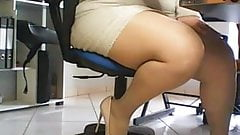Hidden cam under desk in office, spies on amateur secretary