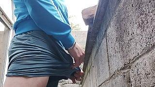 Pissing in public garden