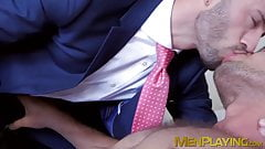 Suit sex with a businessman who loves sucking some hard cock