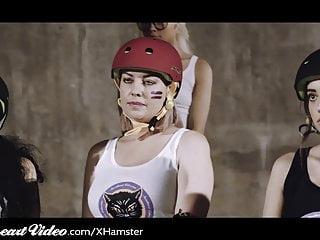 Porn movie roller roller Sweetheart lesbian 3way in locker room after roller derby