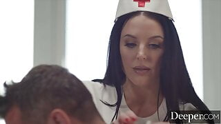 Deeper. Sexy nurse Angela White takes care of patient Manuel