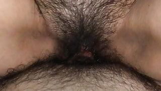 Very hairy step mom rides my cock
