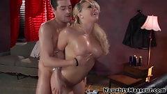 Kagney Linn Karter swallows masseurs cum