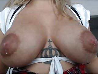 Perky puffy young nips being sucked Lactating puffy nips on mommy blonde