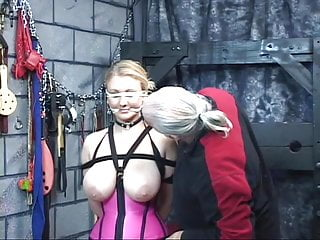 Bdsm the basement - Cute blonde slave in corset with giant tits gets blindfolded in sex basement