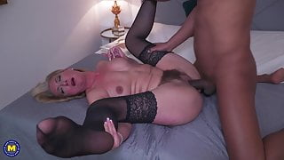 Hairy mother gets anal sex from black guy