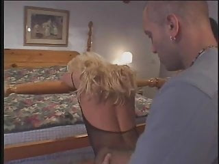 Fucking crotchless panties Blonde anal milf hooker in crotchless panties gets fucked by two guys