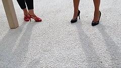 Friend's feet in red heels 3