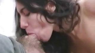 Busty brunette Jane sucking small white dick