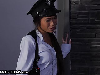 Fetish coping Police woman vina sky eats pussy to cope with rough day