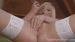 Sensational blonde in white lingerie has some fun