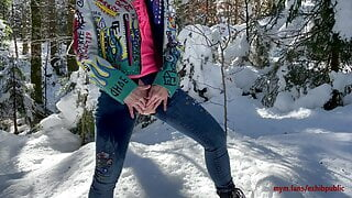 pee in the snow and naughty stroking