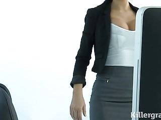 Slut secretarys Hot sexy milf plays the office slut addicted to cock