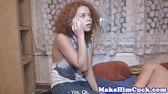 Cuckolding babe gets fucked by black dick