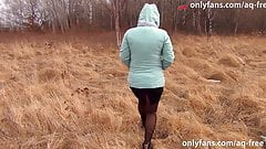 Prostitute in pantyhose works in the woods and loves outdoor sex
