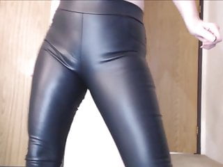 Penis trousers - Cute blonde farting in black leather trousers