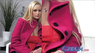 Czech Busty Blonde gets sprayed with spunk in Casting