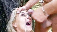 Busty Mature Receives Facial Cumshot Outdoor