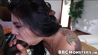 Gorgeous Gina Valentina challenged by huge ebony cock
