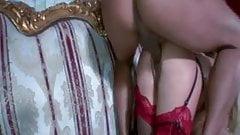 British slut Jools in a FMM threesome in stockings