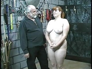 Slave naked - Young brunette thick slave girl is stripped naked for humiliation play