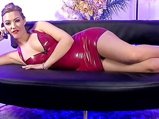 Reconditioned vintage telephones - Hot blonde telephone sex girl with red leather dress