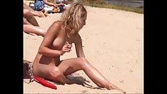 Naked smoking girls on the beach