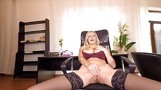 Solo blonde lady, Nathaly Cherie is masturbating, in VR