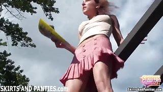 Farmer's daughter Lilia flashing her little panties