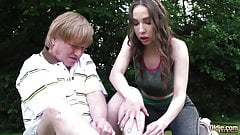 Teen tight pussy rides old man cock and she sucks deepthroat