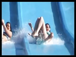Ass expose - Tiny tits and ass exposed on the waterslide