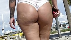 Super sexy and thick Latinas on the beach showing big asses