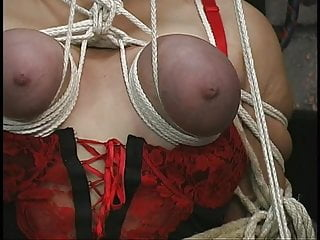 Sex in basement - Rope play turns this big tit blondes jugs purple in sex dungeon basement