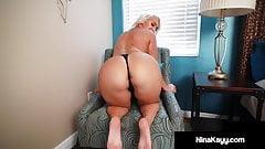 Naked Nympho Nina Kayy Dildo Drills Her Voluptuous Vagina!