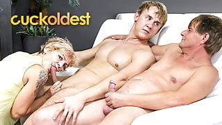 Young guy fucks wife and husband joins at CuckOldest