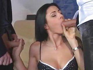 Naked italian dudes - Sofia fucks 2 lucky dudes