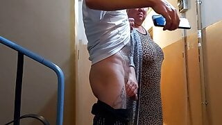 a woman jerks off my cock in the entrance