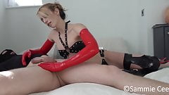 red long latex gloves hanjob