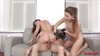 Older boy has a threesome with skinny Russian girls on cam