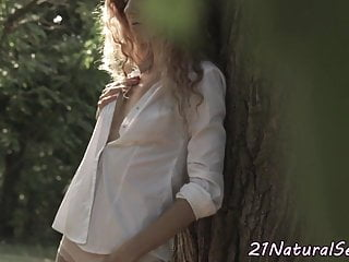 European model teen young - European model pleasuring her pussy outdoors