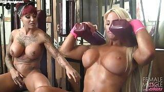 Muscle Lesbians Dani and Megan Workout