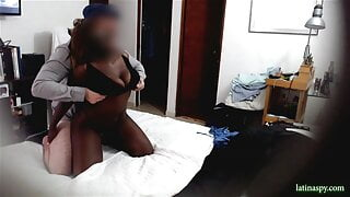 Black MILF with huge natural breasts fucks after date