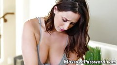 Amazing lesbian babes tongue fucking after hot massage