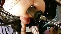 Cross dresser Anal gape fuck machine huge dildo