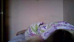 Hacked laptop camera. Girl plays with her big breasts.