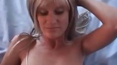 Check My MILF Slim wife in blonde wig and trimmed pussy
