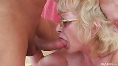 Czech blonde granny with glasses gets fucked by young cock